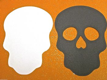 Skull BLACK /WHITE Die Cuts Shapes x 1 pair. Day of the Dead Halloween